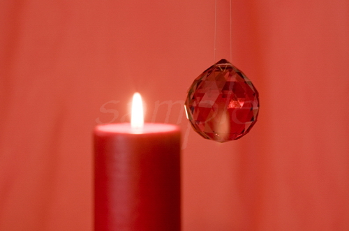 Red Crystal with Candle BTB Feng Shui Bagua Note Card