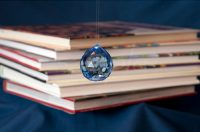 Blue Crystal with Books BTB Feng Shui Bagua Note Card